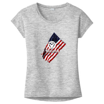 Ladies Victory Wavy Flag on Heather T-shirt (White in Design will NOT print) Thumbnail